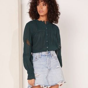 Free People Emma Eyelet Lace Detail Top NEW Green